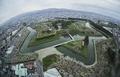 Parco e città di Goryokaku a Hakodate, Hokkaido, Giappone Fotografia Stock