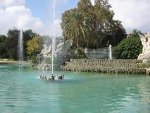 Parco e fontana Fotografie Stock