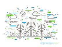 Parco elettrico dell'energia eolica della stazione dell'aria lineare Immagine Stock