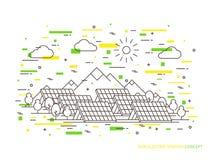 Parco elettrico di energia della stazione del sole lineare Immagine Stock Libera da Diritti