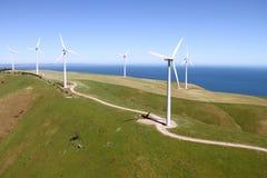 Parco eolico aereo Fotografia Stock Libera da Diritti
