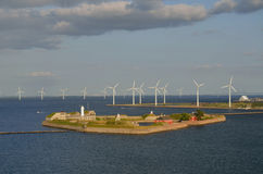 Parco eolico e la cittadella, Copenhaghen, Danimarca Immagini Stock Libere da Diritti