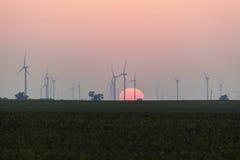 Parco eolico in Illinois Immagini Stock Libere da Diritti