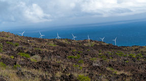 Parco eolico in Maui Hawai Fotografia Stock