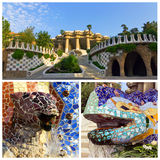 Parco Guell nell'insieme di Barcellona Immagine Stock Libera da Diritti