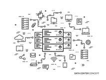 Parco lineare del server del centro dati, ospitante l'illustrazione di vettore illustrazione di stock