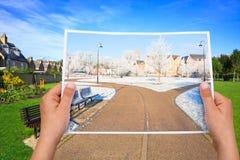 Parco memorabile di estate dell'immagine contro l'inverno Fotografie Stock