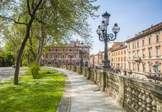 Parco Montagnola, Bologna. Traditional lamp standards in the Parco Montagnola situated along the Via de l'independence in the Italian city of Bologna, capital of Royalty Free Stock Photos