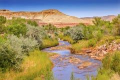 Parco nazionale bianco rosso Utah della scogliera del Campidoglio del fiume di Fremont della montagna Immagini Stock