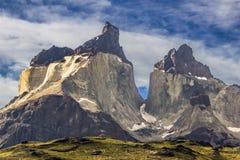 Parco nazionale del ` di Torres del Paine del `, forse uno dei posti più piacevoli su terra Qui possiamo vedere i corni di Paine  fotografia stock libera da diritti