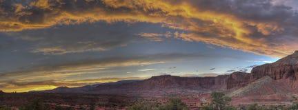 Parco nazionale della scogliera del Campidoglio di tramonto al punto di panorama Fotografia Stock Libera da Diritti