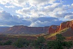 Parco nazionale della scogliera del Campidoglio di tramonto al punto di panorama Fotografie Stock