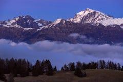 Parco nazionale di Ecrins al crepuscolo Champsaur, alpi, Francia Fotografie Stock Libere da Diritti