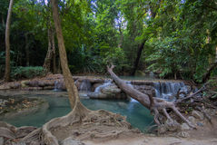 Parco nazionale di Erawan, cascata in Tailandia Fotografia Stock
