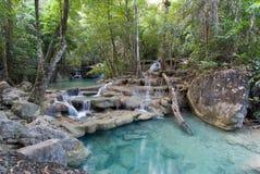 Parco nazionale di Erawan, cascata in Tailandia Immagine Stock Libera da Diritti