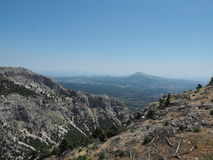 Parco nazionale di Parnitha del supporto - gola di Chounis - vista di Atene del Nord, Grecia - monti Parnes Fotografia Stock Libera da Diritti