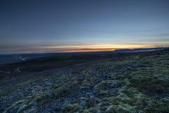 Parco nazionale di Skaftafell in Islanda con la vista del ghiacciaio durante il tramonto, Islanda Fotografia Stock Libera da Diritti