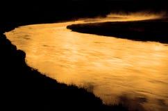 Parco nazionale Madison River di Yellowstone nel primo mattino Fotografia Stock