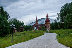 Parco nazionale a nord del Natale artico del villaggio del villaggio artico di Mohe a St Petersburg Antivari Fotografie Stock Libere da Diritti
