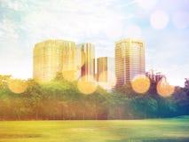 Parco pubblico nella città e nell'alta costruzione, effetto d'annata del filtro Fotografie Stock Libere da Diritti