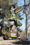 Parco Regina Canada di palo di totem del Kwakiutl Wascana Fotografie Stock