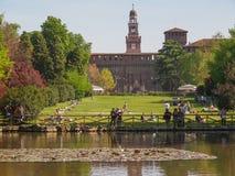 Parco Sempione i Milan arkivbild