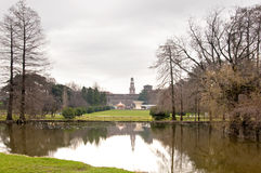 Parco Sempione. Milan, Italy. Landscape of Parco Sempione, the main park of the city, in a rainy day Stock Photography