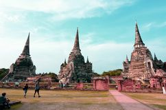 Parco storico di Ayutthaya, SI SANPHET di WAT PHRA Fotografie Stock Libere da Diritti