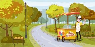 Parco, venditore e carretto con il gelato, venditore, alberi bench, metropoli del fondo, il vettore, illustrazione, isolata Illustrazione Vettoriale