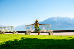 Parco vicino al lago geneva in Svizzera Fotografie Stock