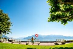 Parco vicino al lago geneva in Svizzera Fotografia Stock Libera da Diritti
