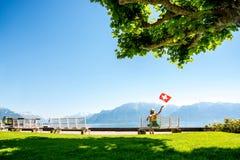 Parco vicino al lago geneva in Svizzera Fotografia Stock