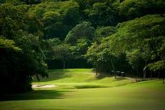 Parcours ouvert de terrain de golf à la ressource tropicale Photos libres de droits