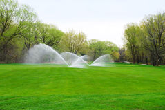 Parcours ouvert de terrain de golf étant arrosé Photos libres de droits