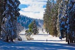 Parcours ouvert et étang dans la neige Images stock