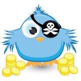 Pardal do pirata dos desenhos animados com moedas de ouro Imagens de Stock Royalty Free
