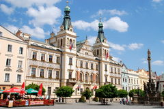 Pardubice, Czech Rep: Town Hall & Market Square Stock Images