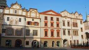 Pardubice, Czech Republic. The facade of the historical buildings in the city center.  stock footage
