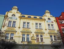 Pardubice, Czech Republic. The facade of the historical buildings in the city center. Communism time royalty free stock photos