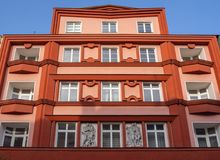 Pardubice, Czech Republic. The facade of the historical buildings in the city center. Communism time royalty free stock photography