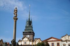 PARDUBICE, CZECH REPUBLIC. Plague column and the main square,  Pardubice is the capital city of the Pardubice Region Royalty Free Stock Photography