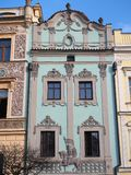 Pardubice, republika czech Fasada dziejowi budynki w centrum miasta Obraz Stock