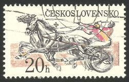 Pardubice Steeplechase Racing. Czechoslovakia - CIRCA 1978: Stamp printed by Czechoslovakia, Multicolor edition photogravure printing on topic of sport events Royalty Free Stock Photos
