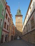 Pardubice, Tschechische Republik Der grüne Turm einer der Symbole der Stadt stockfotos
