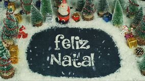 Pare a animação do movimento de Feliz Natal Portuguese, no Feliz Natal inglês ilustração royalty free