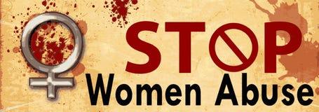 Pare a bandeira do abuso das mulheres ilustração do vetor