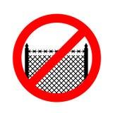 Pare a beira Cerca proibida Sinal vermelho da proibição Cruz para fora p ilustração do vetor