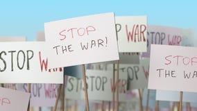 PARE cartazes da GUERRA na demonstração da rua Animação loopable conceptual ilustração royalty free