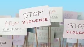 PARE cartazes da VIOLÊNCIA na demonstração da rua Animação loopable conceptual video estoque