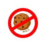 Pare cookies Proibe-se comer migalhas Sig vermelhos da proibição ilustração stock
